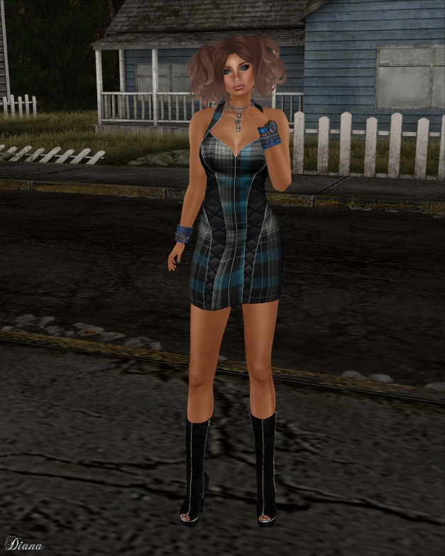 BodyCult - Mesh Neckholder Dress CaraLee blue