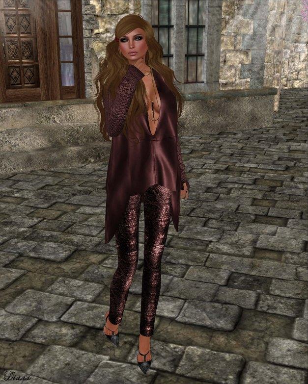 GizzA - Ashly Leather Tunic Burgundy