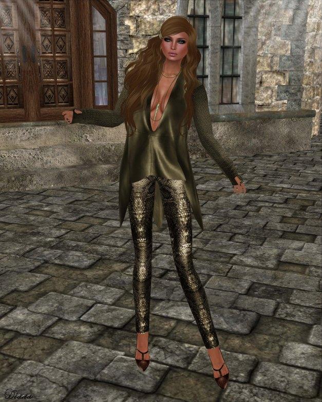 GizzA - Ashly Leather Tunic Olive
