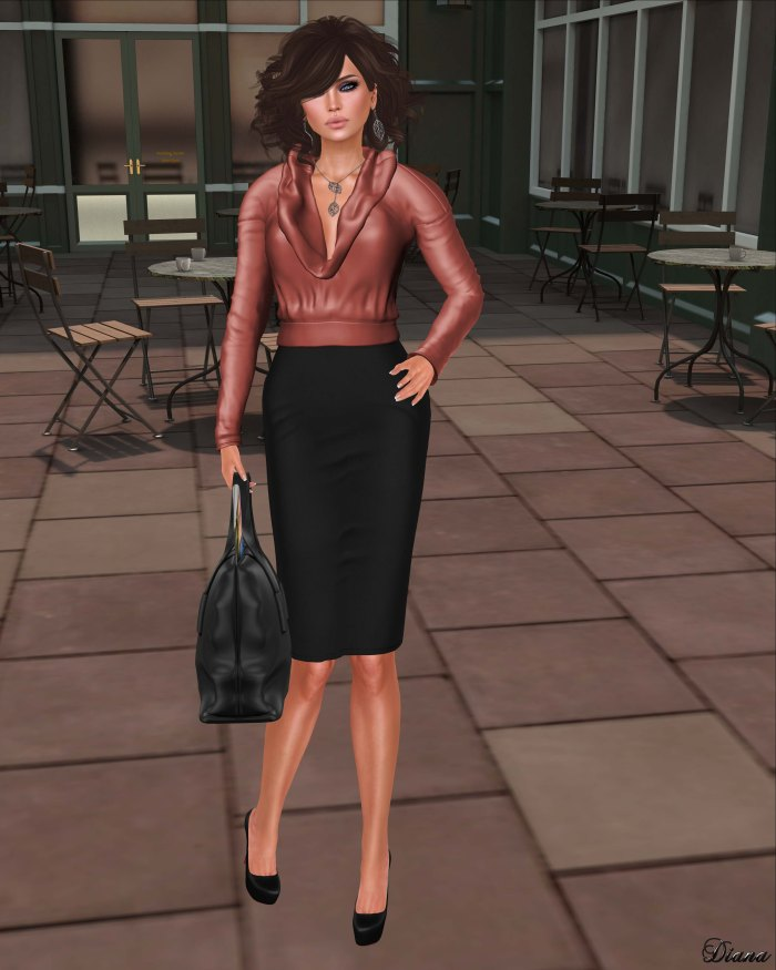 Just BECAUSE - Cowl Blouse Marsala