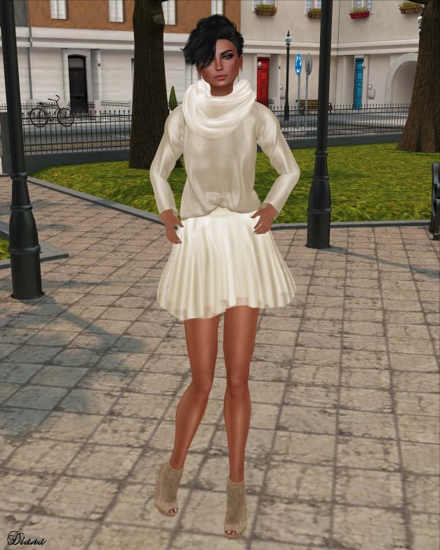 Zenith - sweater w chiffon skirt (begie)-1