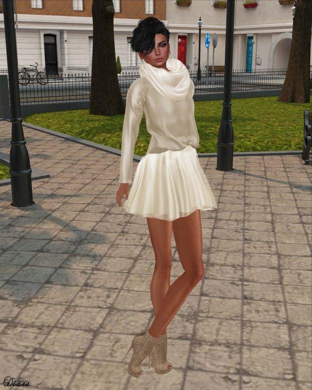 Zenith - sweater w chiffon skirt (begie)-2