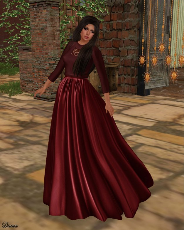 Baiastice - Cleo Sweater Carmine and Nayra Long Skirt Rouge
