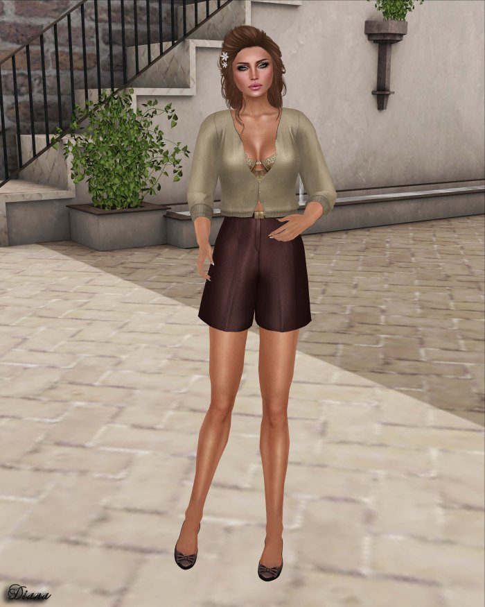 Baiastice - Rocio Cardigan Sand and Cael HW Shorts Chococake