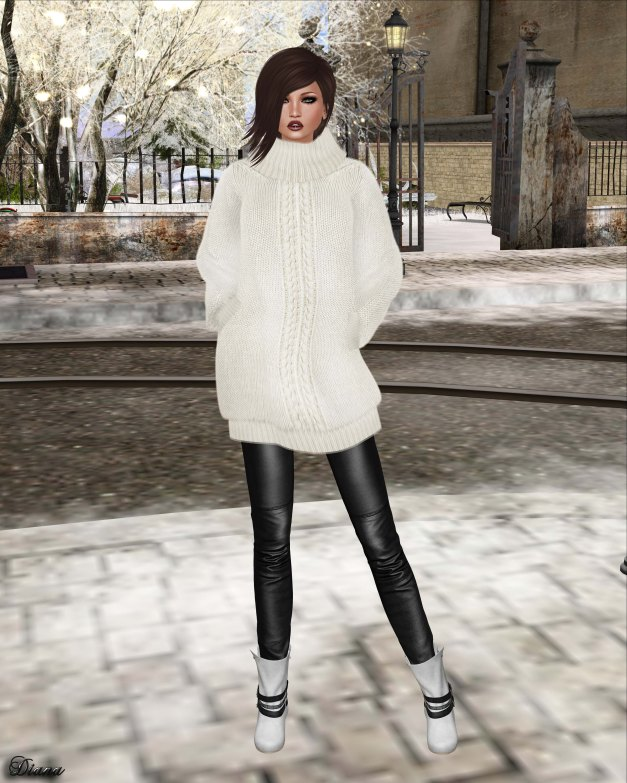 GizzA - Oversize Knit Top BW and Leather Legging Black-Stone