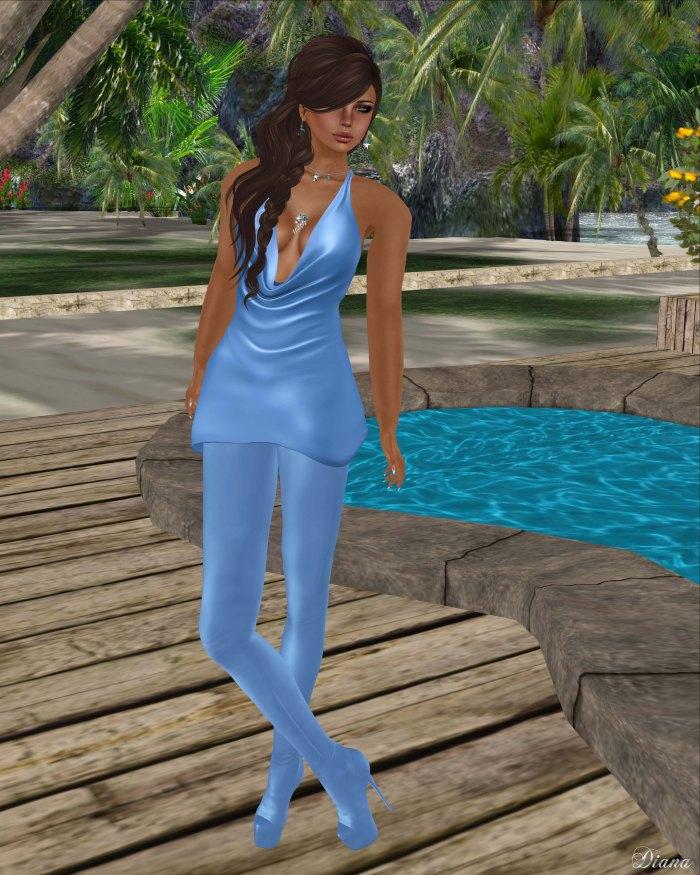 Baiastice - Draped mini dress and Venus Leggings Boots cielo