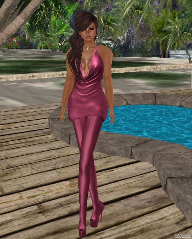Baiastice - Draped mini dress and Venus Leggings Boots raspberry