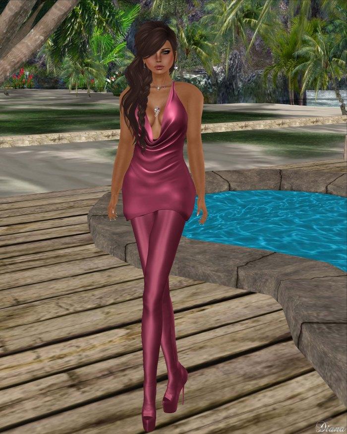 Baiastice - Draped mini dress and Venus Leggings Boots raspberry