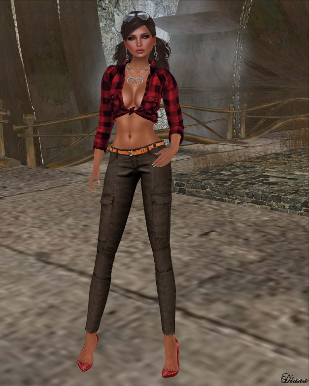 Foxes - Throw Back and Tied Check Red and Addams - A Brand Cargo Pants