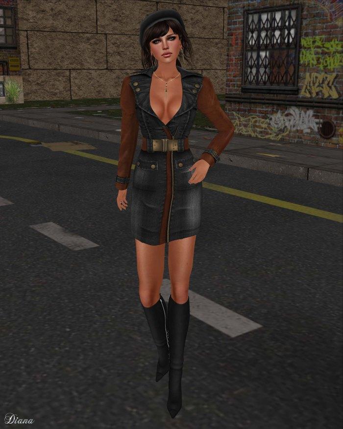 GizzA - Army Denim Dress Black