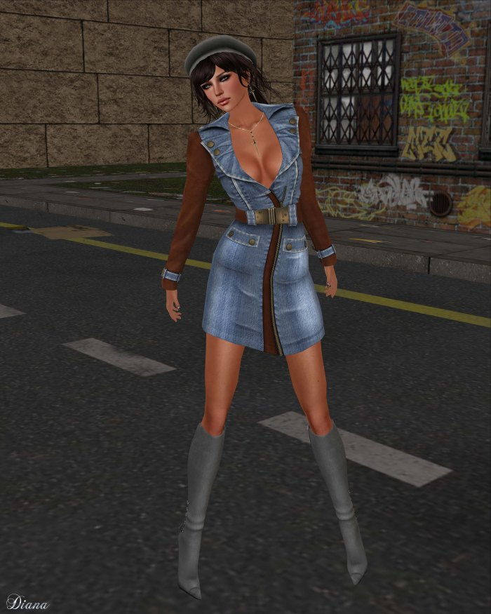 GizzA - Army Denim Dress Light Blue