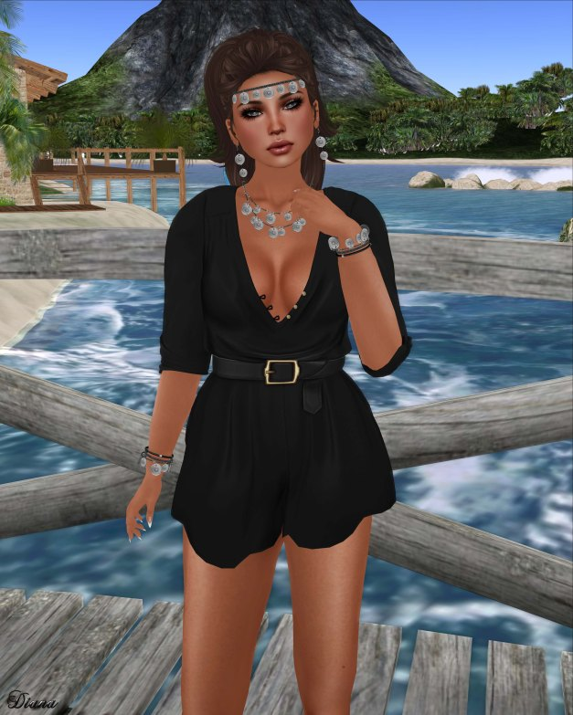 Teefy Lana V-Neck Romper and Izzie's - Coin Jewelry Set