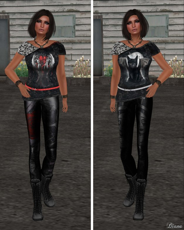 Immerschoen-BodyCult - Belted Shirt Hands & Bat Cat and Leather Skinny Gothic Skullroses & Gothic Mary