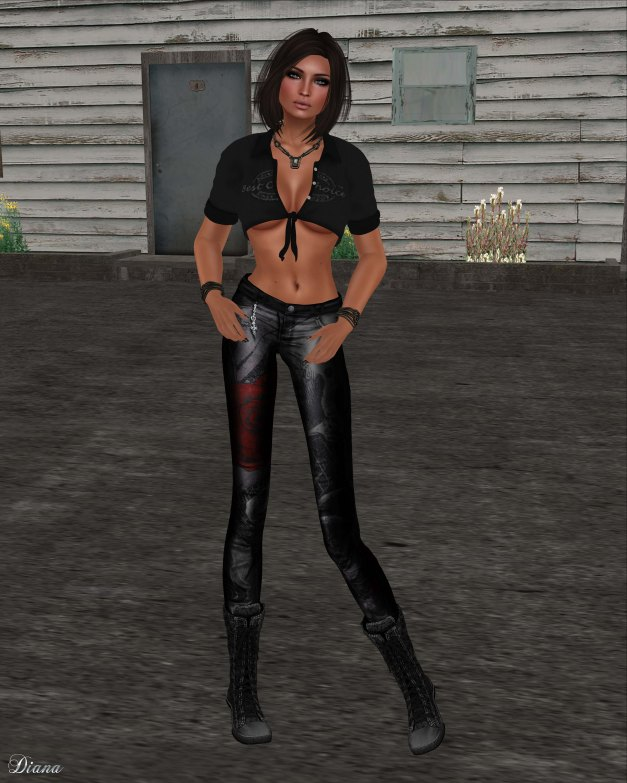 Immerschoen-BodyCult - Knot Shirt Priscilla black and Leather Skinny Gothic Skullroses