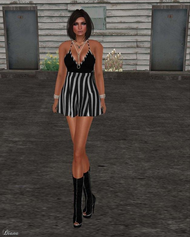 Immerschoen-BodyCult - SunDress Sonia stripes black