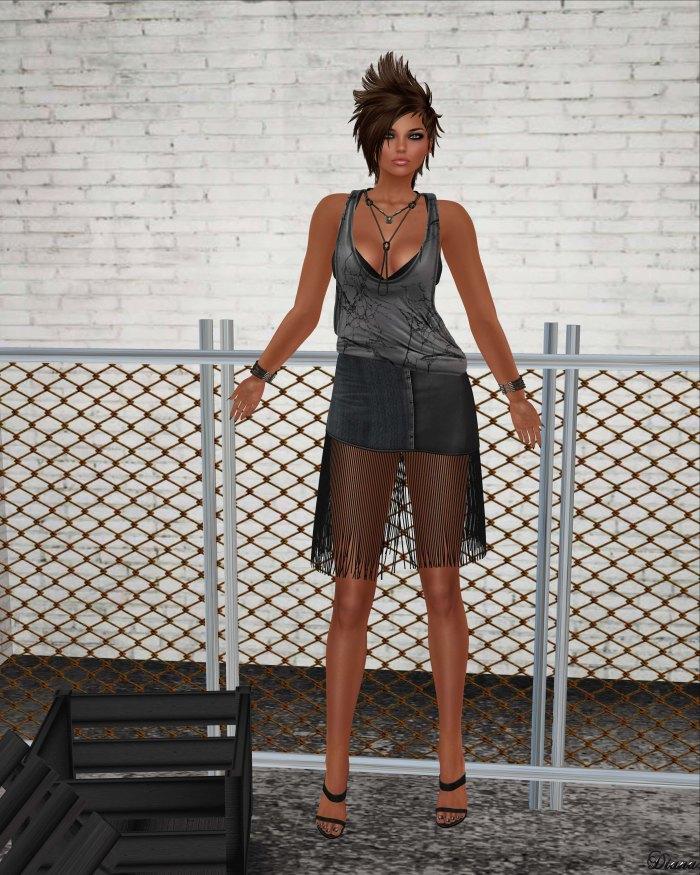 GizzA - Joy Racerback Tank Cotton and Joy Fringe Skirt Denim Black