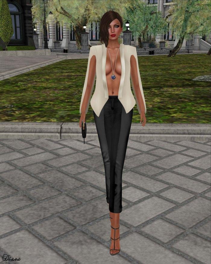 GizzA - Petra Jacket Cream and Pants Black
