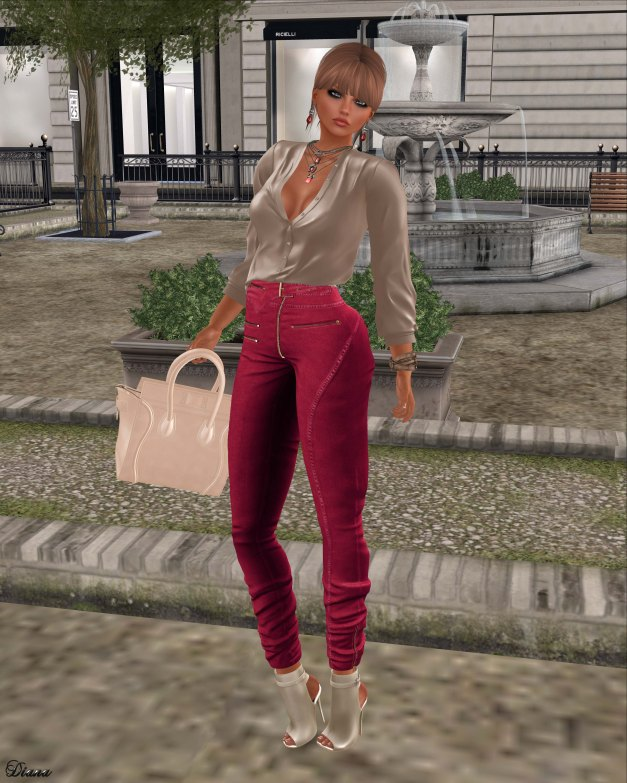 Ricielli - Porsha Shirt Beige and Moira Denim Pants Cherry
