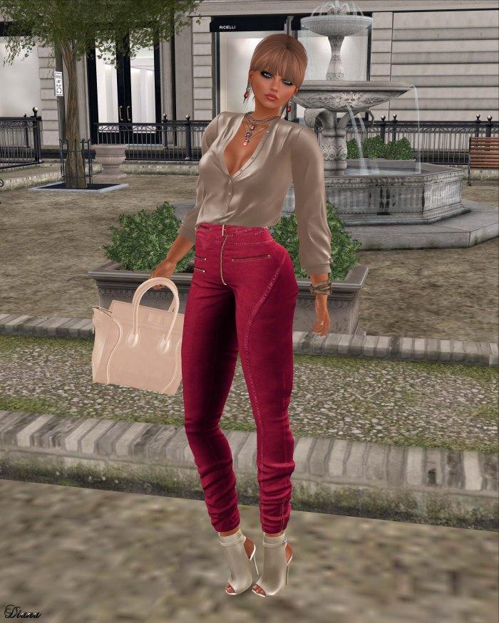 Ricielli - Porsha Shirt Beige and Moira Denim Pants Cherry