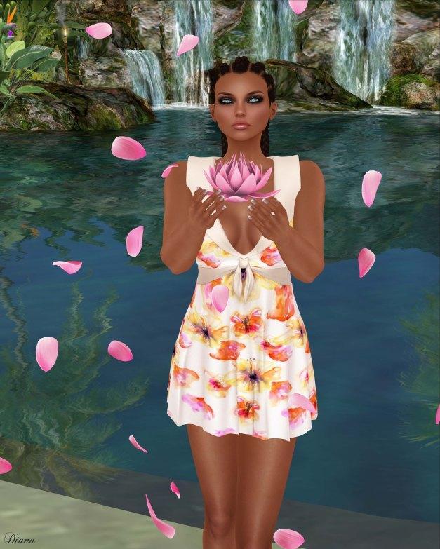 Baiastice - Lola dress-Print Blossom Peach
