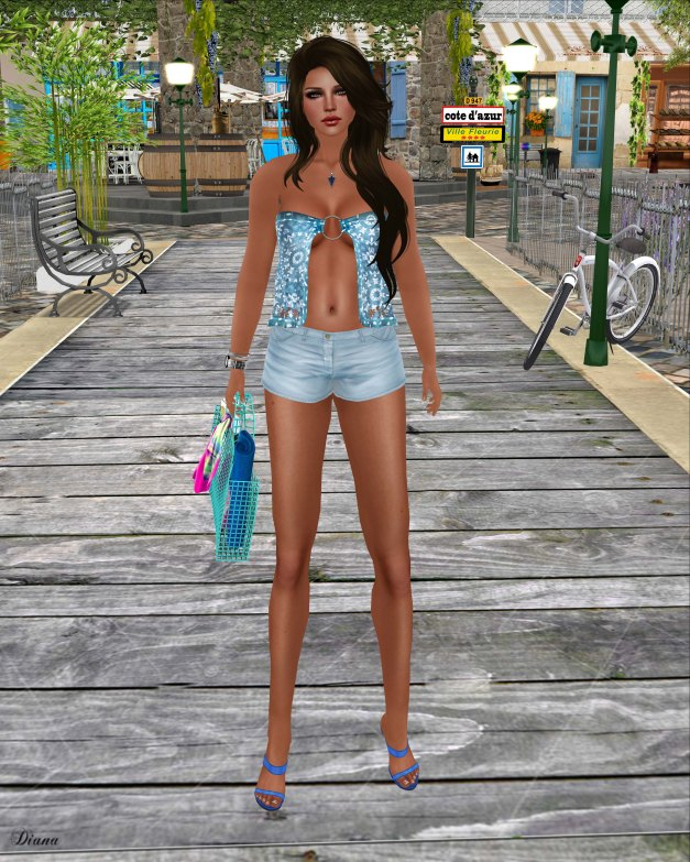 GizzA - Give Me Summer Top Ornamental Blue and Give Me Summer Shorts Blue