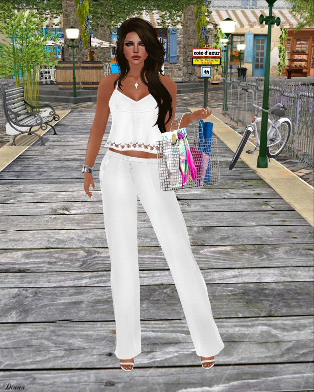 GizzA - Vicky Tank Blouse and Trousers White