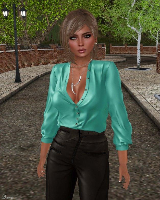 Ricielli - Moira Leather Pants Espresso and Porsha Shirt Lagoon