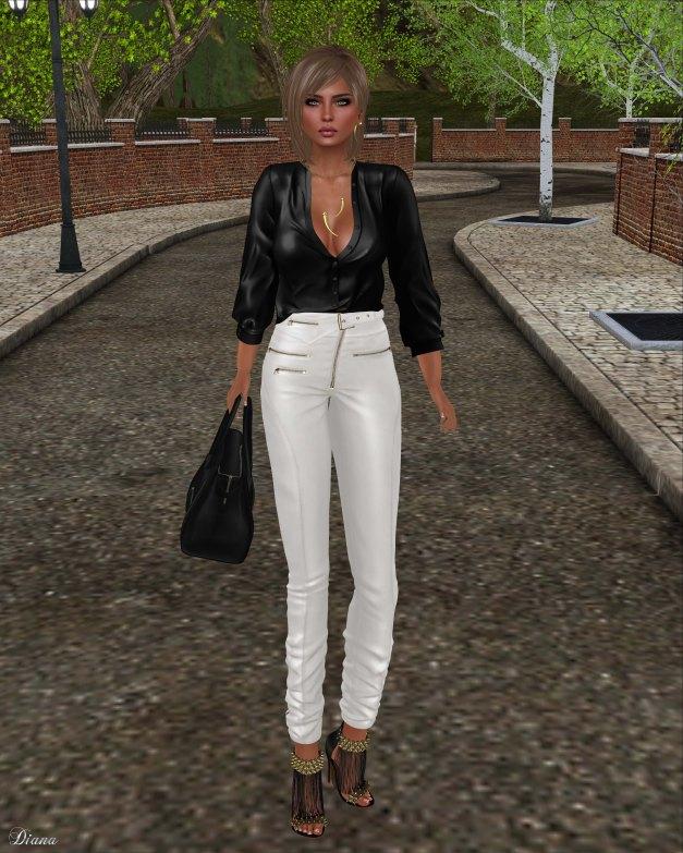 Ricielli - Moira Leather Pants White and Porsha Shirt Black