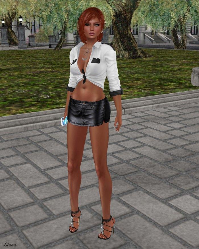 Blueberry - Miri Leather Skirt-1