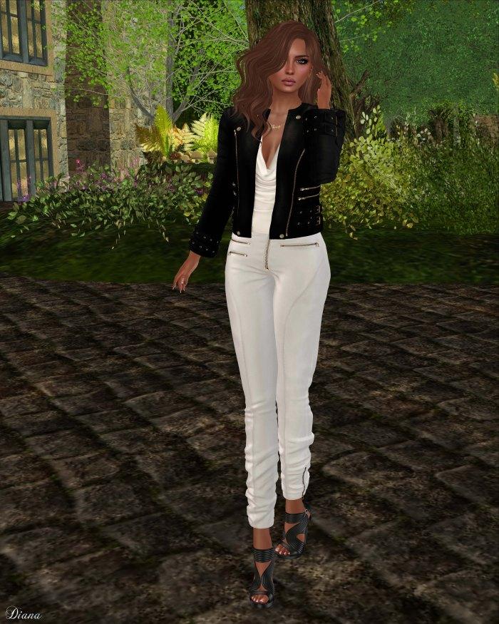 Ricielli - Roya Leather Jacket Black and Moira Leather Pants White