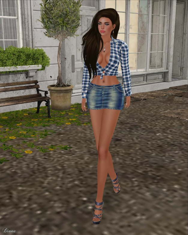 GizzA - Wendy Knotted Shirt Blue and Wendy Denim Skirt Vintage