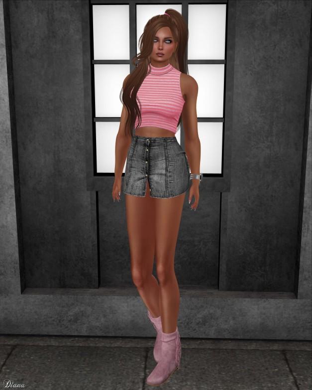 Addams - Turleneck Sleeveless and High Rise Skirt wPanties-1
