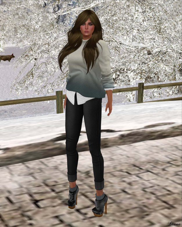 Neve - top easy ombre and pant rolled denim