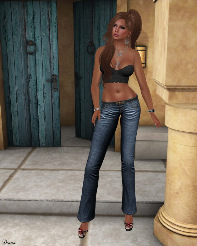 Just BECAUSE - Lace Bustier and Dsigner Jeans-1