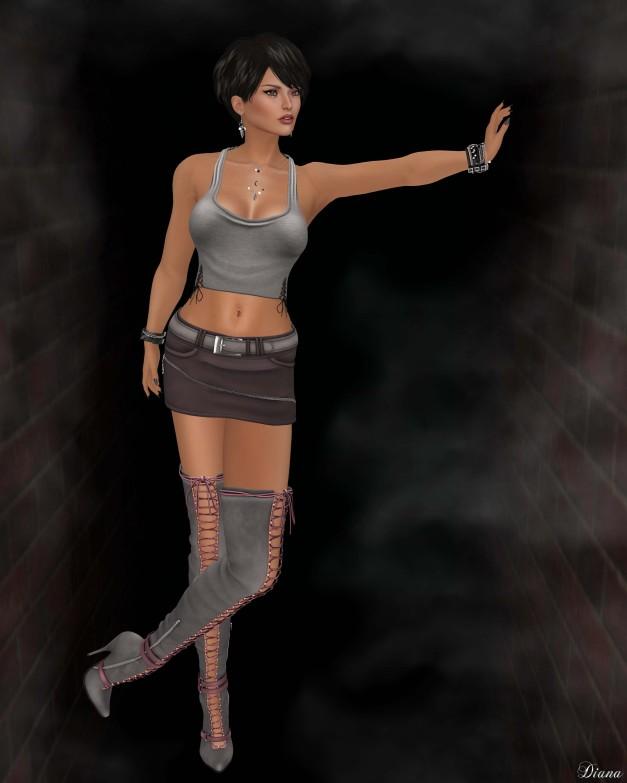 !Rebel Hope - Bebe Mesh Halter Top , Torrid Mesh Skirt , Jane Mesh Thigh High Boots-1