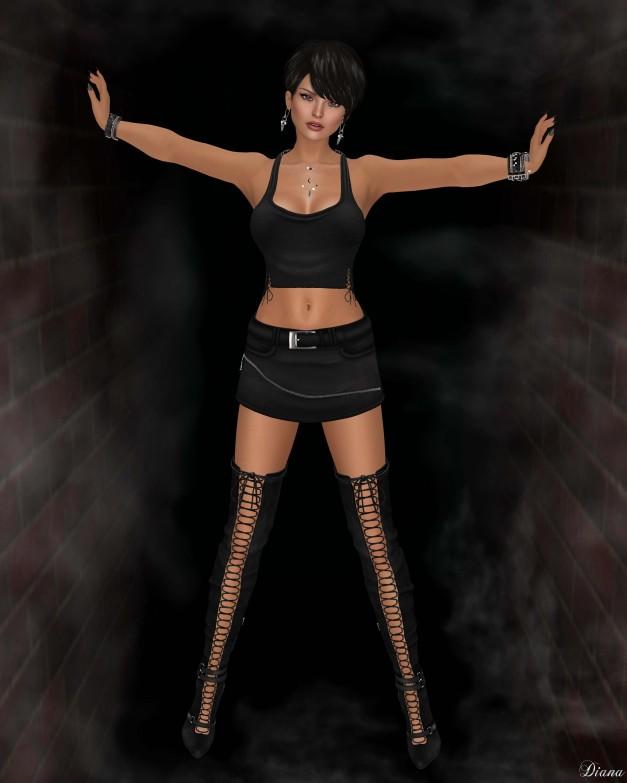 !Rebel Hope - Bebe Mesh Halter Top , Torrid Mesh Skirt , Jane Mesh Thigh High Boots-2