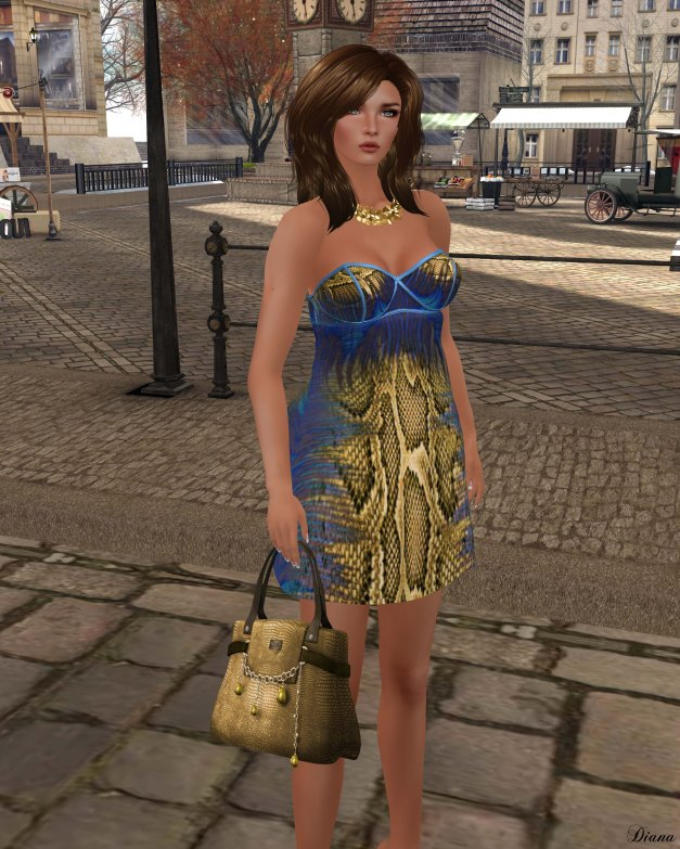 Baiastice - Nomi Python Dress-BlueGold