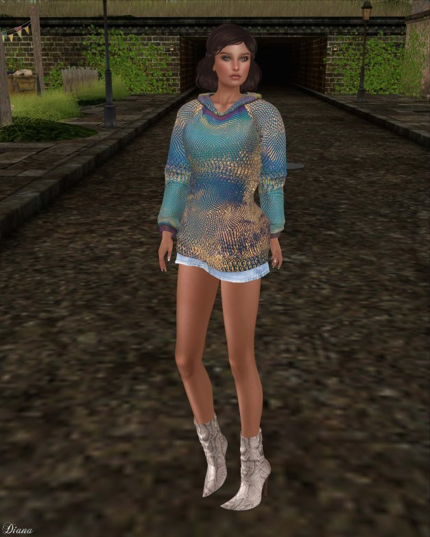 Baiastice - Long Hoodie Set and Caty Python Ankle Boots