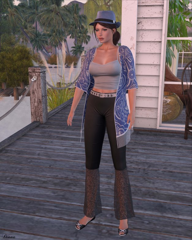 Addams - Della Tank Top,Alicia Flare Pants,Victoria Kimono and Truth - Elira