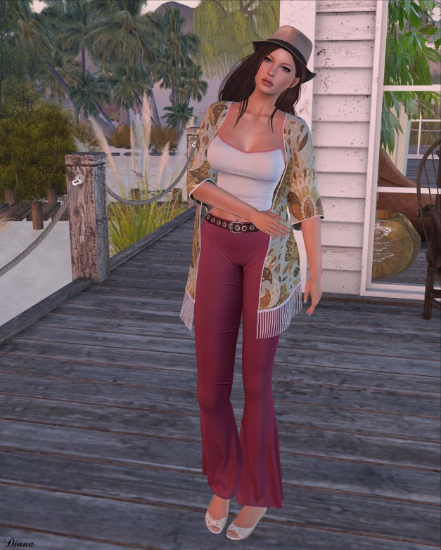 Addams - Della Tank Top,Alicia Flare Pants,Victoria Kimono and Truth - Fenella