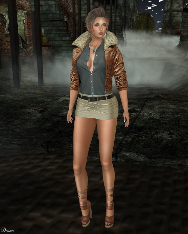 Addams - Lulu Leather Jacket wShirts and Celina Leather Skirt wBelt-2