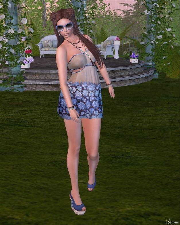 Baiastice - Mia Mini Dress-Blue Roses