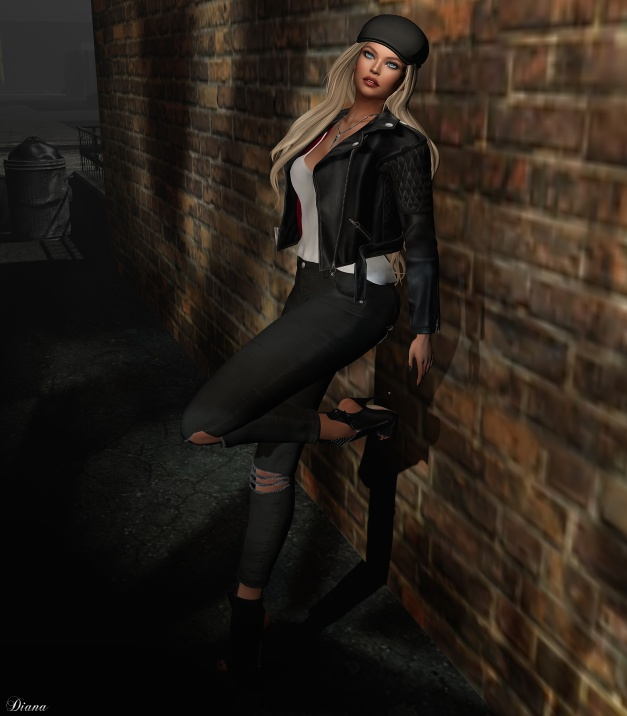 Coco - LeatherBikerJacket and RippedJeans